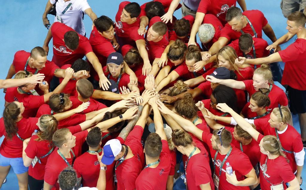 Equipo de natación estadounidense en Río de Janeiro.
