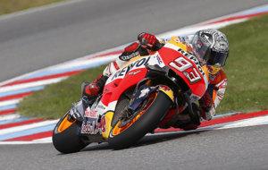 Marc M�rquez, durante la jornada de pruebas del lunes en Brno.