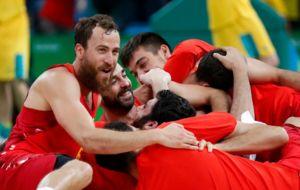 España celebrando sus bronce en Río 2016
