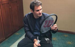 Federer, con su Wilson Pro Staff RF 97 Autograph