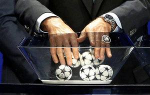Bolas durante un sorteo de Liga de Campeones de la pasada temporada.