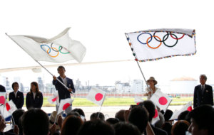 A ceremony to mark the arrival of the Olympic flag at Haneda airport...