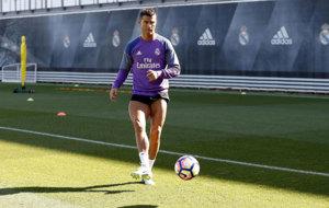 Cristiano Ronaldo en el entrenamiento del martes.