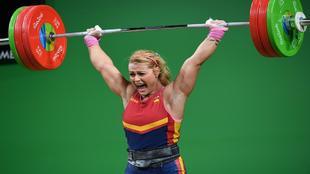 Lydia Valentín, durante una competición en los Juegos de Río de...