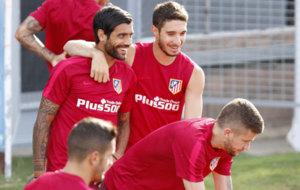 Augusto, en el entrenamiento del Atl�tico de Madrid