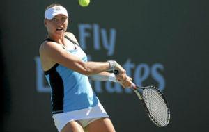Vera Zvonareva durante un partido en Indian Wells en 2011.