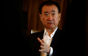 Wang Jianlin, chairman of the Wanda Group, speaks during an interview...