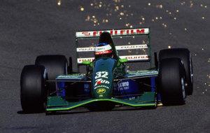 Schumacher, sobre el Jordan 191 en el circuito de Spa-Francorchamps en...