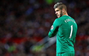 Fraser Forster during a match against Manchester United.