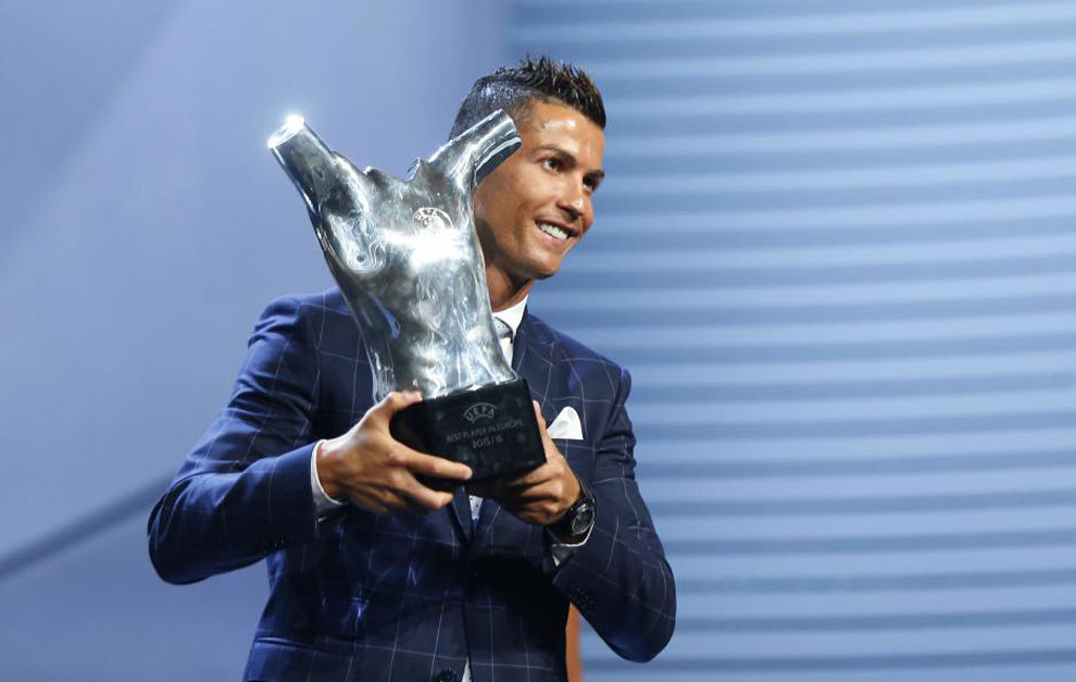 Image result for Cristiano Ronaldo named UEFA player of season