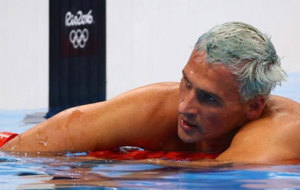 Lochte after a competition in the 2016 Olympic Games.