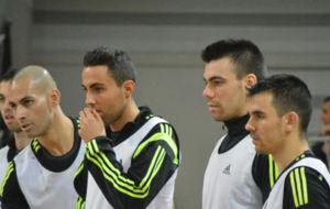 Sergio Lozano, junto a Fernandao, Aicardo y �lex, con la selecci�n.