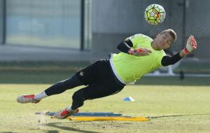 Pedro, en un entrenamiento con el primer equipo