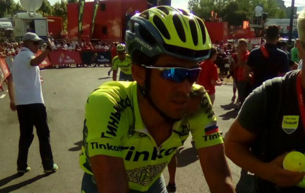Contador, tras llegar a meta.