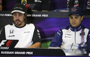 Alonso y Massa, en el GP de Rusia de 2015.