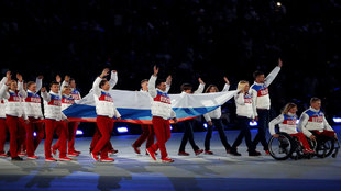 Russian team during closing ceremony of 2014 Paralympic Games.