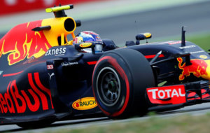 Red Bull Racing's Max Verstappen during practice at the Belgium GP.