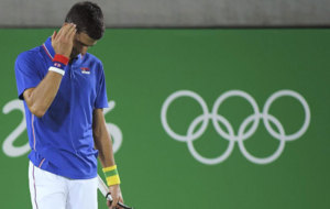 Novak Djokovic during a match in the 2016 Olympic Games.
