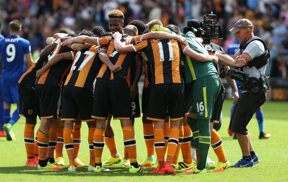 Los jugadores del Hull celebran su triunfo sobre el Leicester.