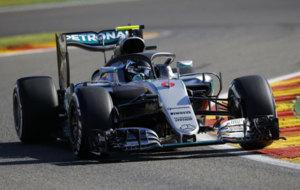 Rosberg, durante los primeros libres en Spa