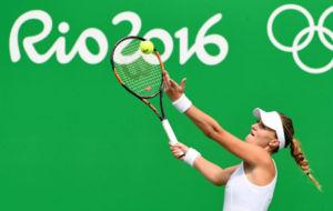 Kristina Mladenovic durante un partido en R�o de Janeiro.