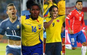 Ag�ero, Valencia, Falcao y Jara con sus selecciones.