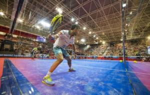Sanyo Guti�rrez durante un partido en el World P�del Tour esta...