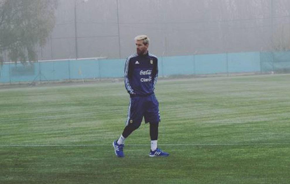 Messi, en los campos de entrenamiento de Ezeiza