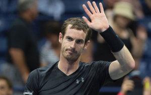 Murray celebrando su victoria en el US Open anoche ante Rosol