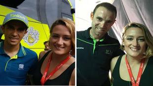 Contador y Valverde, junto a Mireia Belmonte.