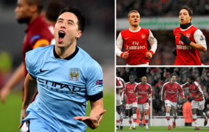 Nasri con las camisetas de Arsenal y City