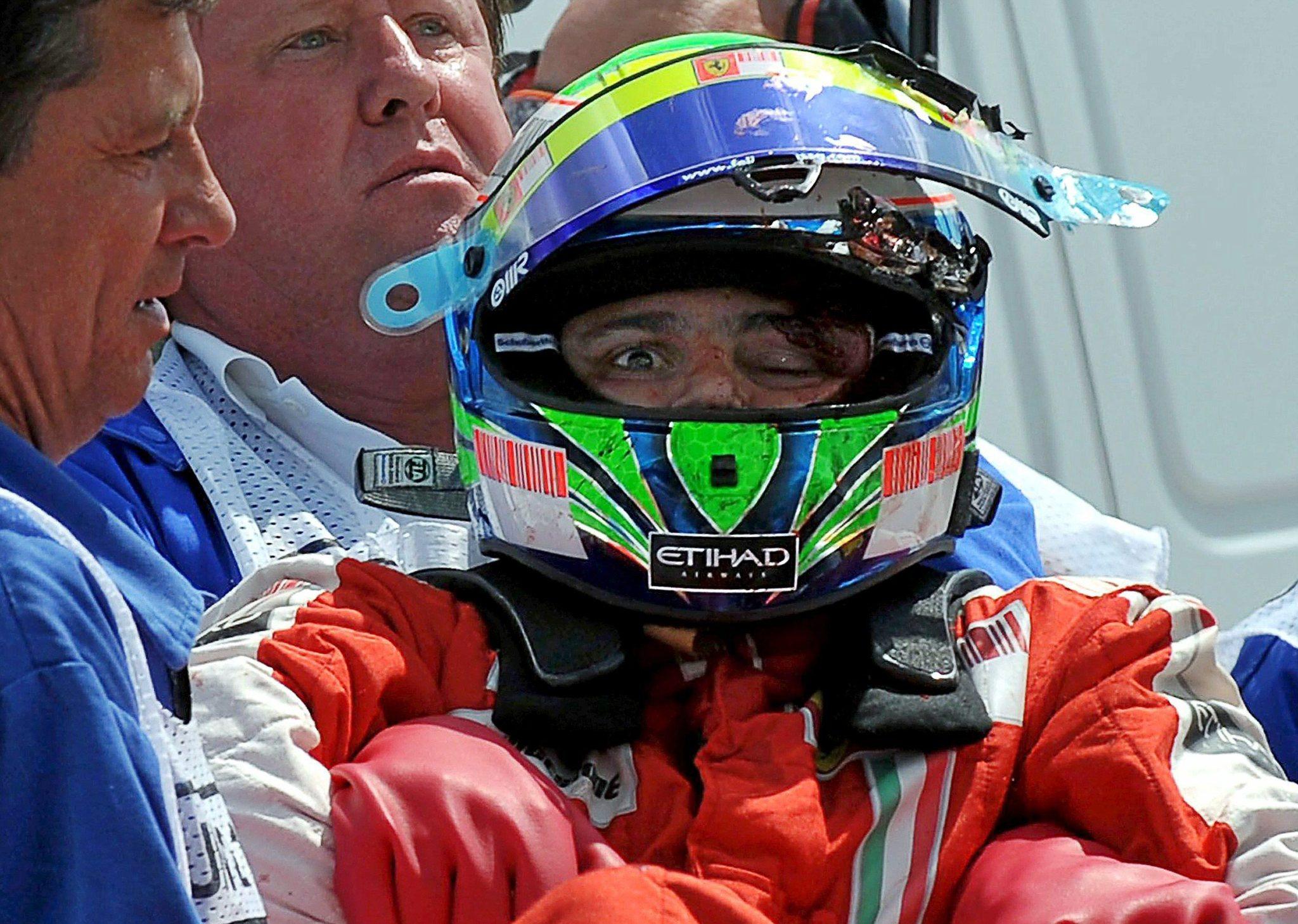 Así quedó Massa tras el impacto con el muelle