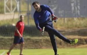 Sergio Herrera, durante el entrenamiento de este mi�rcoles en Huesca