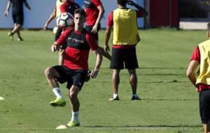 Dalmau, durante un entrenamiento reciente con el Mallorca