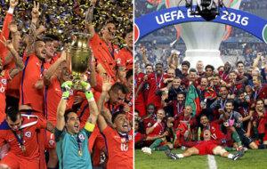 Chile campe�n de la Copa Am�rica y Portugal de la Eurocopa.