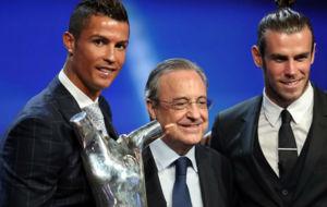 Cristiano, Florentino y Bale, en la gala de la UEFA