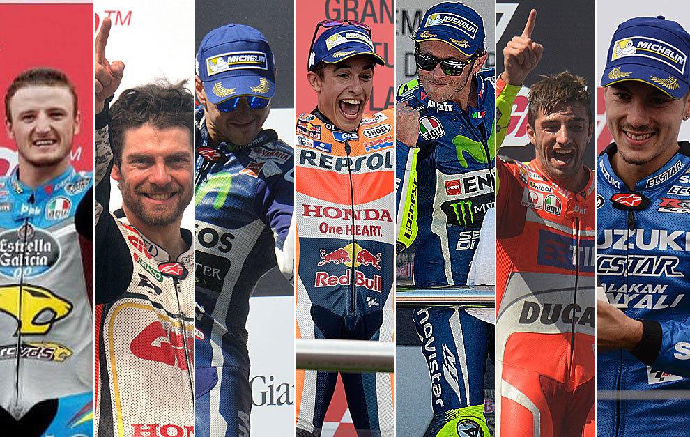Miller, Crutchlow, Lorenzo, Márquez, Rossi, Iannone y Viñales,...