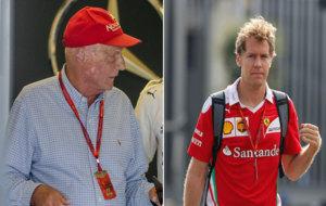 Lauda en Hockenheim y Vettel, durante el GP de Italia