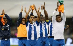 Los jugadores de Honduras celebran su clasificaci�n para el...