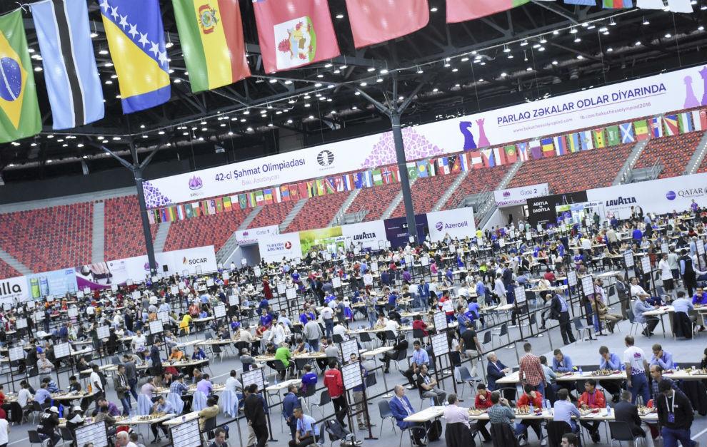 Juegos De Ir Al Baño:La sala de juego de la Olimpiada de ajedrez de Bakú