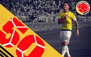 James ha disputado 50 partidos con la camiseta de Colombia