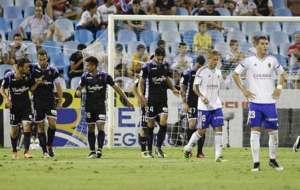 Los jugadores del Valladolid celebran uno de los goles en La Romareda