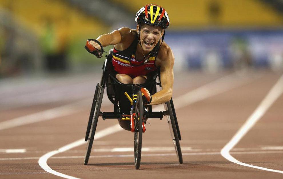 Marieke Vervoort celebra la victoria en el Mundial de Doha (Qatar)