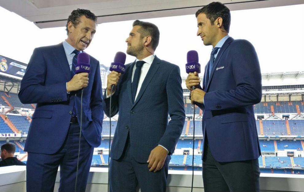 Raúl, en el puesto de comentarista junto con Valdano y José Sanchís ...