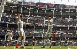 Imagen de cristiano Ronaldo agradeciendo a Bale el pase con el que...
