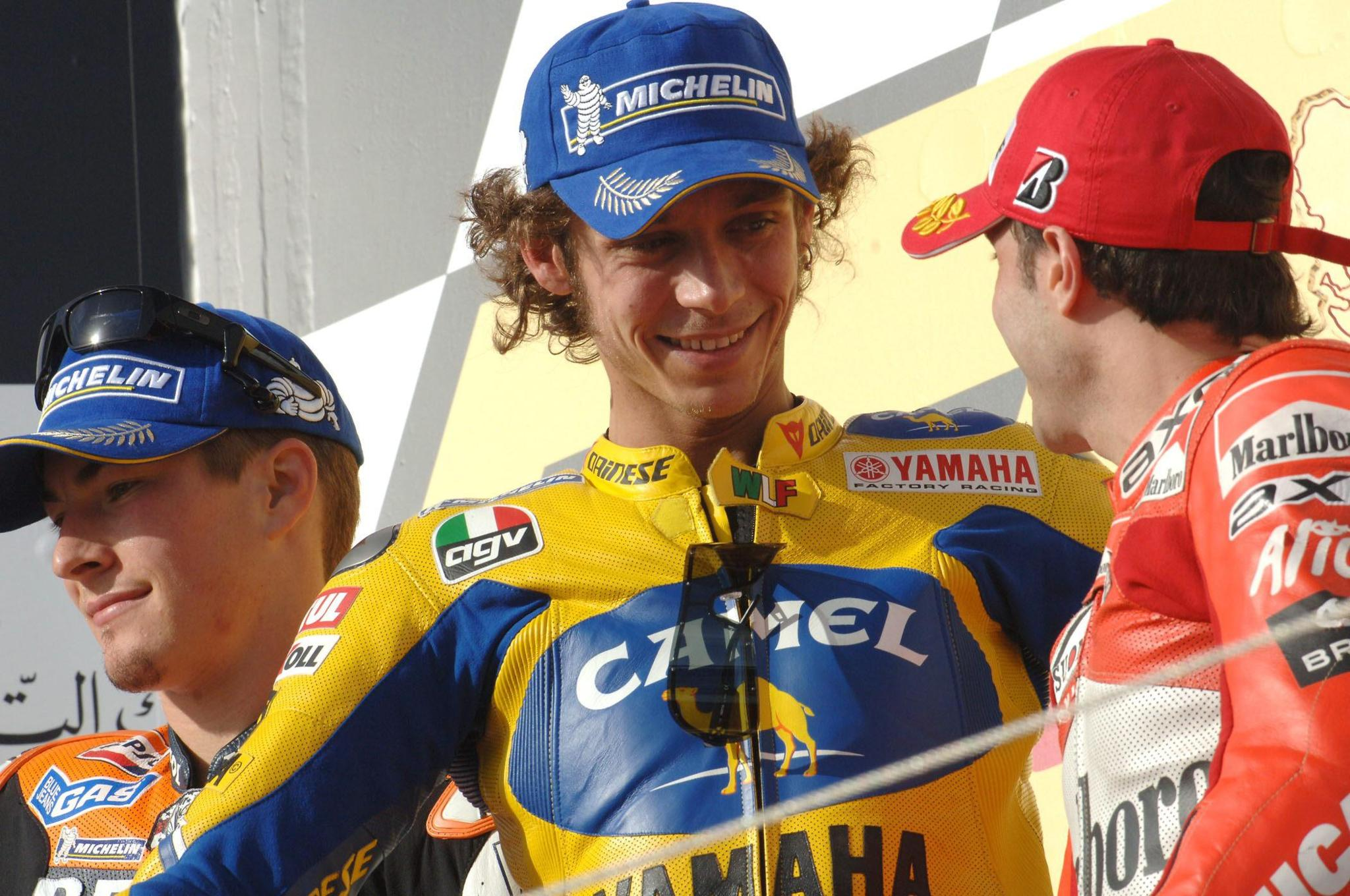 Hayden, Rossi y Capirosi durante el Mundial 2006