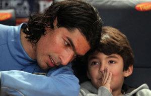 Abreu y su hijo Diego.