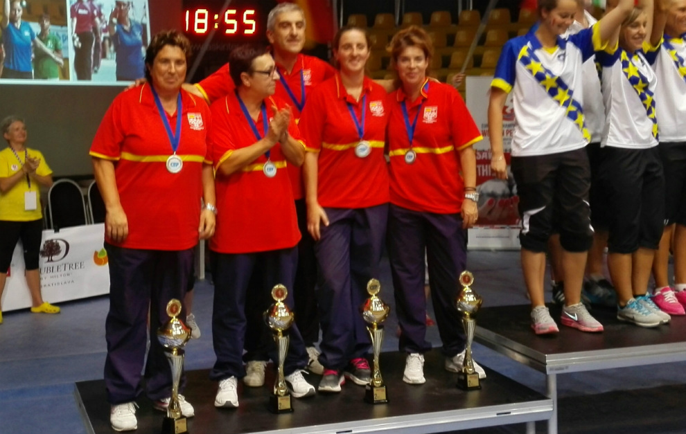 La selección española, en el podio del Europeo