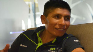 Nairo Quintana, atendiendo al redactor de MARCA.