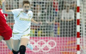 Jessica Alonso, durante un partido con la nacional ante Noruega en los...